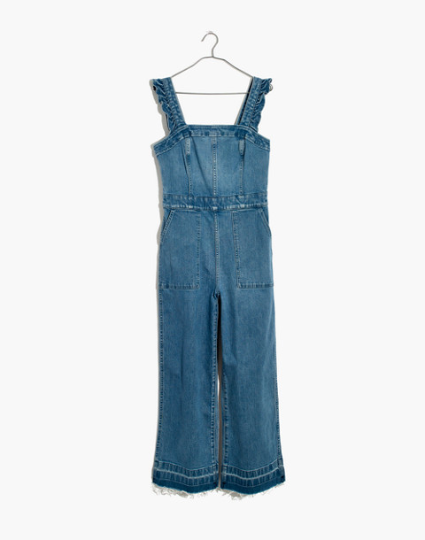 Denim Ruffle-Strap Jumpsuit in levita wash image 4