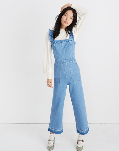 Denim Ruffle-Strap Jumpsuit in levita wash image 1
