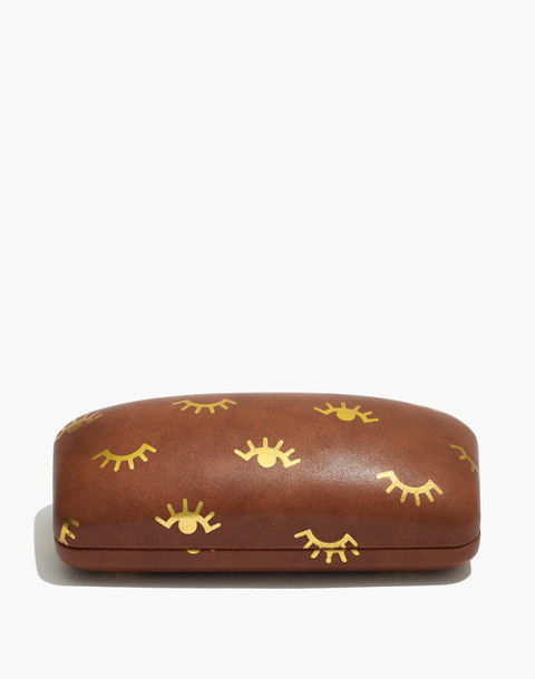 Winky Printed Sunglass Case in english saddle image 1