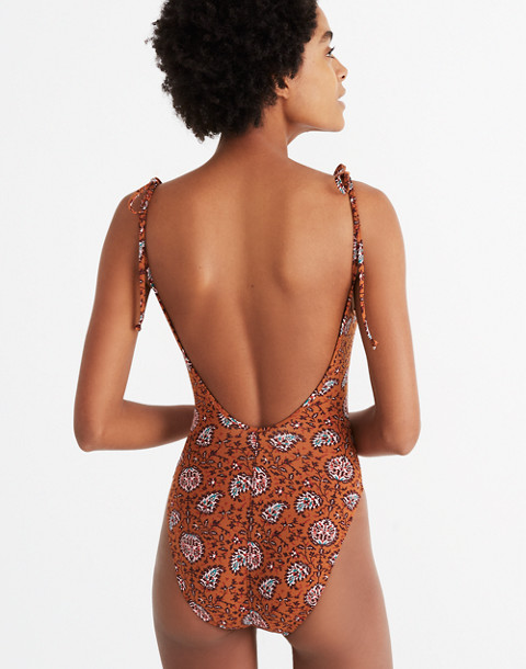 Madewell Shoulder-Tie One-Piece Swimsuit in Warm Paisley