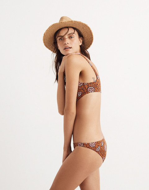 Madewell Lowrider Bikini Bottom in Warm Paisley in provincial pink icing image 3