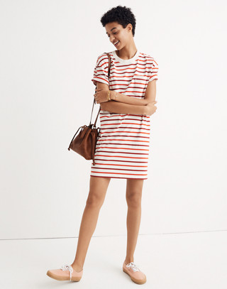 Pocket Tee Dress in Pablo Stripe in ripe persimmon image 2