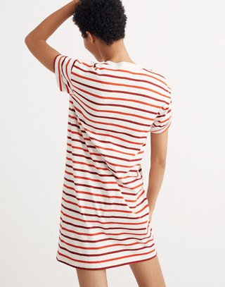 Pocket Tee Dress in Pablo Stripe in ripe persimmon image 3