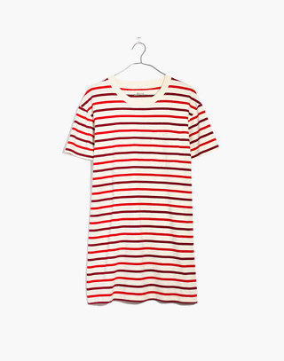 Pocket Tee Dress in Pablo Stripe in ripe persimmon image 4