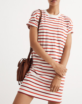 Pocket Tee Dress in Pablo Stripe in ripe persimmon image 1