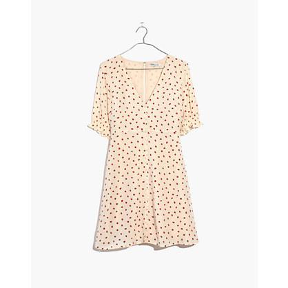 Silk Clover Button-Front Dress in Fresh Strawberries