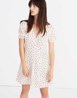 Silk Clover Button-Front Dress in Fresh Strawberries