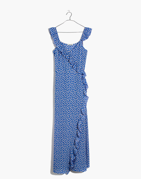 Ruffled Wrap Maxi Dress in Mini Daisy in camille brilliant royal image 4