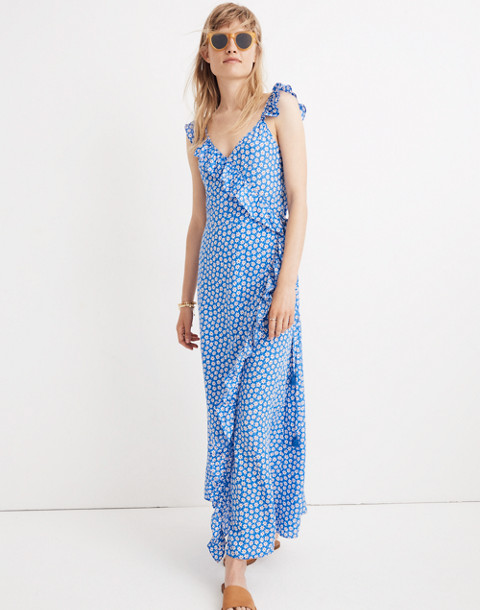 Ruffled Wrap Maxi Dress in Mini Daisy in camille brilliant royal image 1
