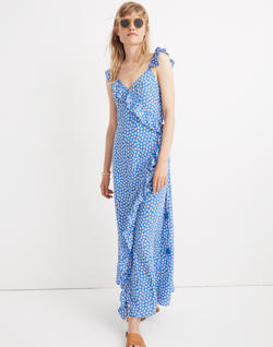 Ruffled Wrap Maxi Dress in Mini Daisy