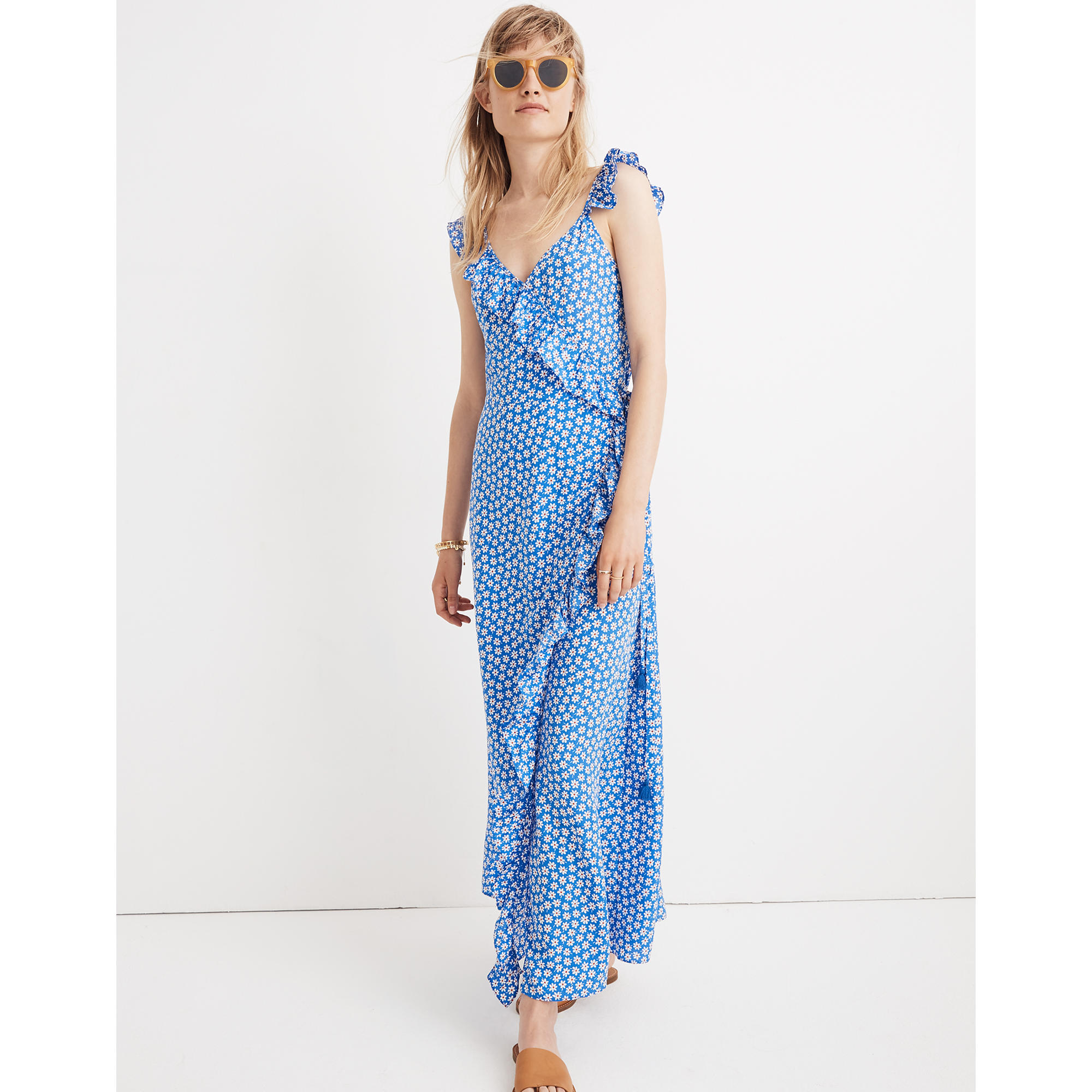 Madewell ruffled wrap maxi dress in mini daisy