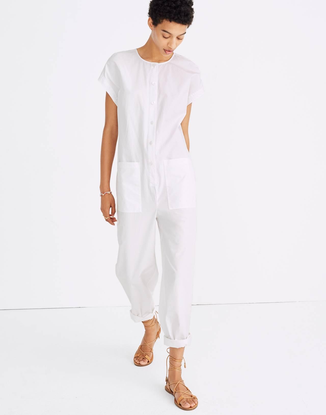 Mosswood Jumpsuit in eyelet white image 1