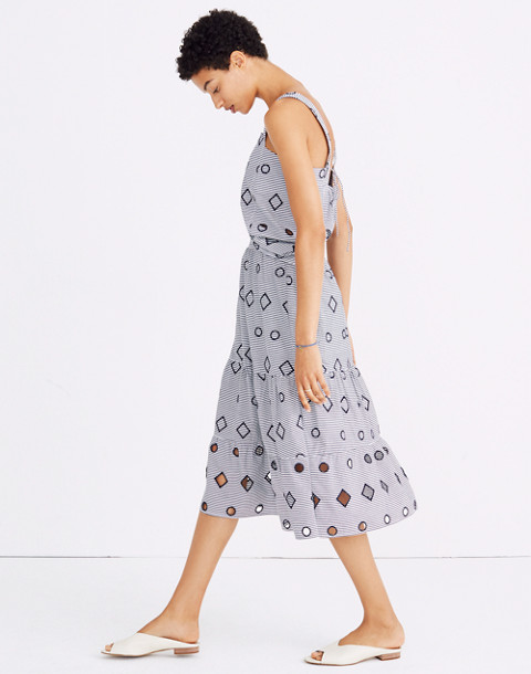 Embroidered Stripe Midi Skirt in nightfall image 2