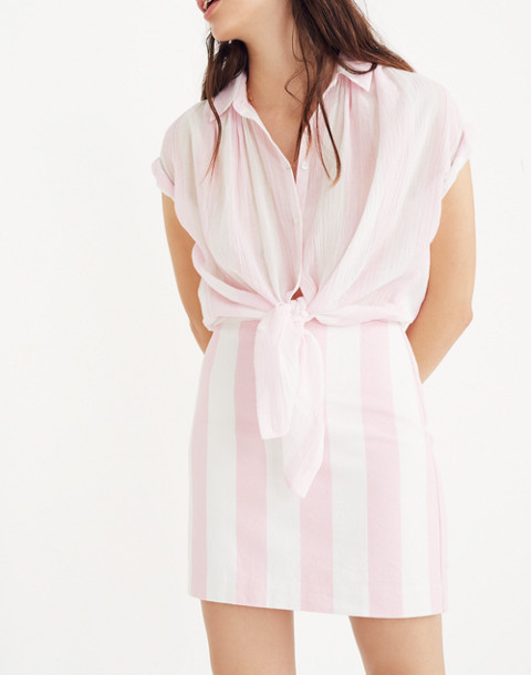 Gamine Skirt in Cara Stripe in petal pink image 1