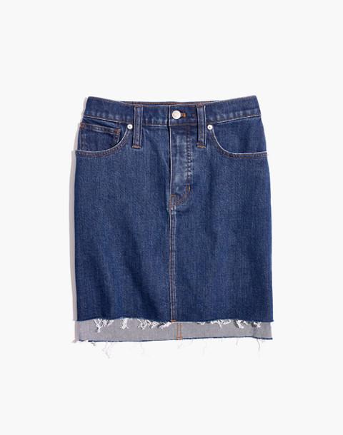 Stretch Denim Straight Mini Skirt: Step-Hem Edition