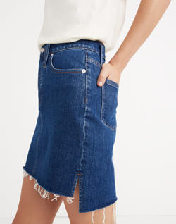 Stretch Denim Straight Mini Skirt: Step-Hem Edition