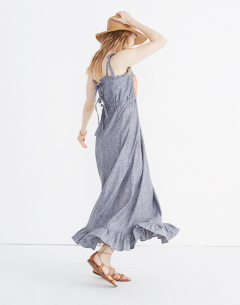 Innika Choo Daisy Embroidered Avens Midi Dress in grey image 3
