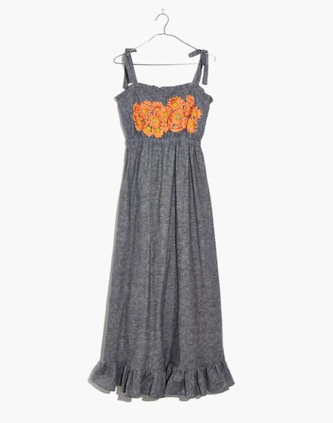Innika Choo Daisy Embroidered Avens Midi Dress in grey image 4
