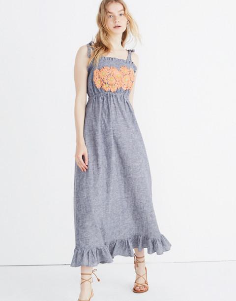 Innika Choo Daisy Embroidered Avens Midi Dress in grey image 1