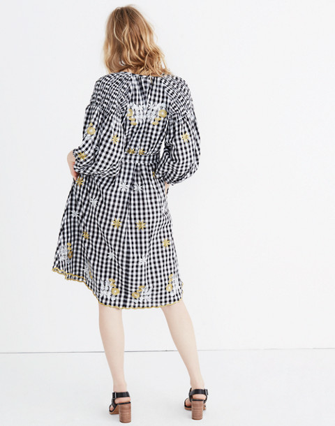 Innika Choo Smocked Gingham Avens Midi Dress in black check image 3
