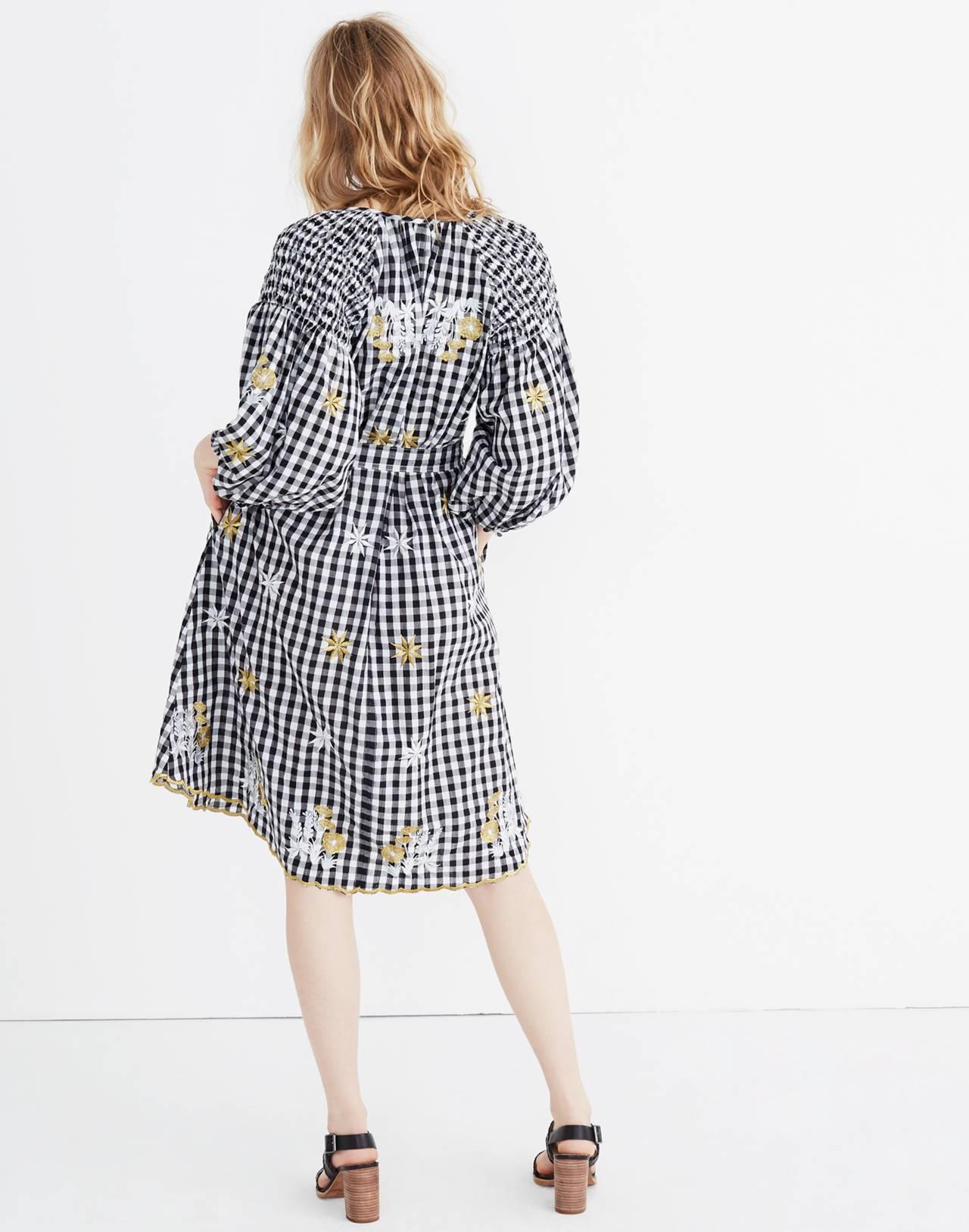 Innika Choo Smocked Gingham Avens Midi Dress in black check image 3