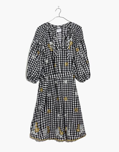 Innika Choo Smocked Gingham Avens Midi Dress in black check image 4
