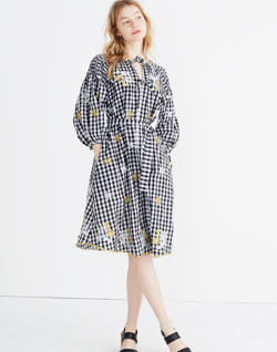 Innika Choo Smocked Gingham Avens Midi Dress