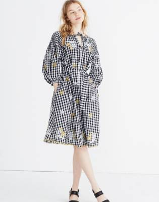 Innika Choo Smocked Gingham Avens Midi Dress by Madewell