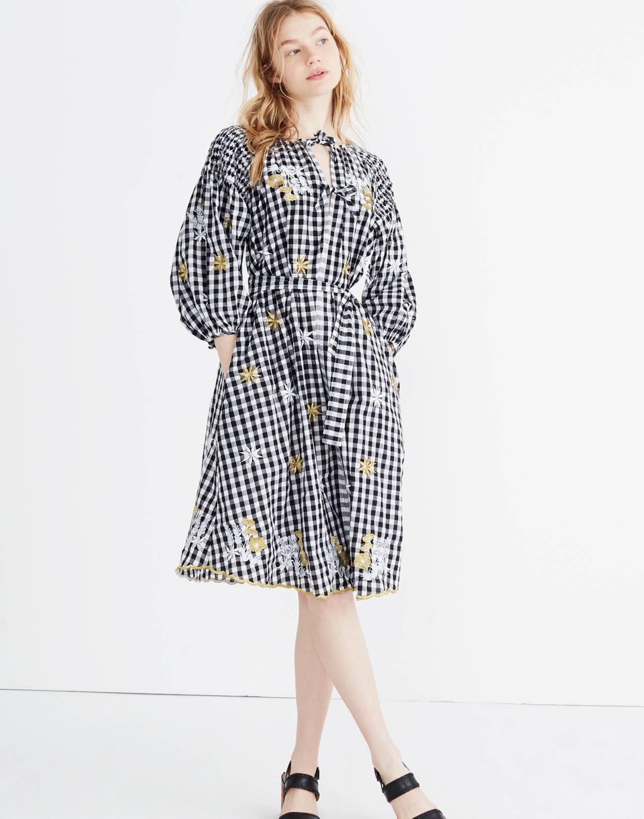 Innika Choo Smocked Gingham Avens Midi Dress in black check image 1