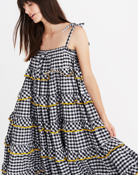 Innika Choo Tiered Gingham Avens Dress in black check image 2