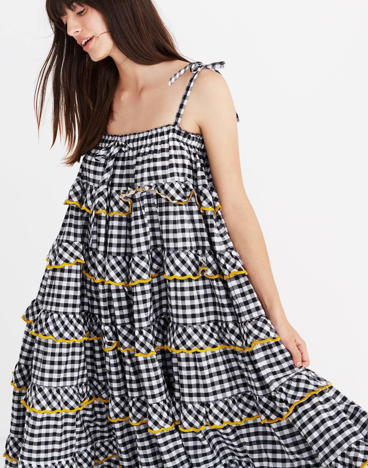 Innika Choo Tiered Gingham Avens Dress in black check image 2