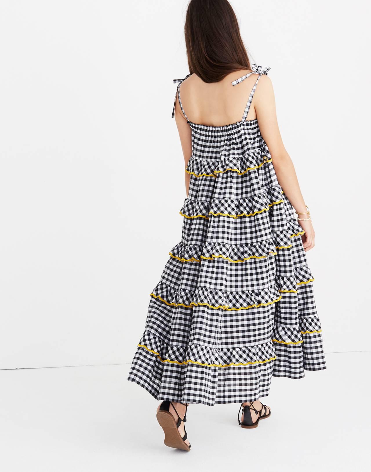 Innika Choo Tiered Gingham Avens Dress in black check image 3