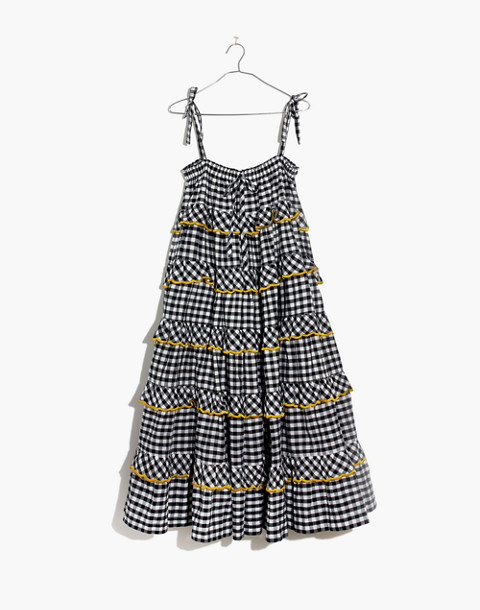 Innika Choo Tiered Gingham Avens Dress in black check image 4