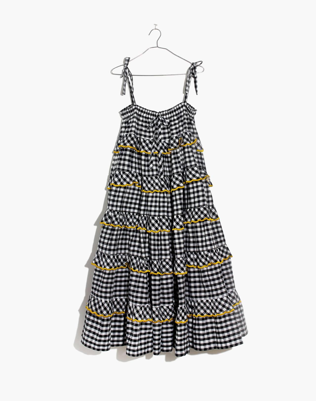 Innika Choo Tiered Gingham Avens Dress in black check image 4