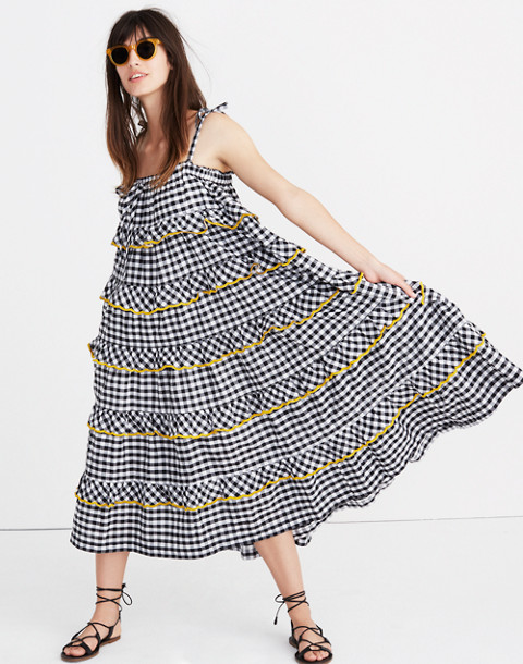 Innika Choo Tiered Gingham Avens Dress in black check image 1