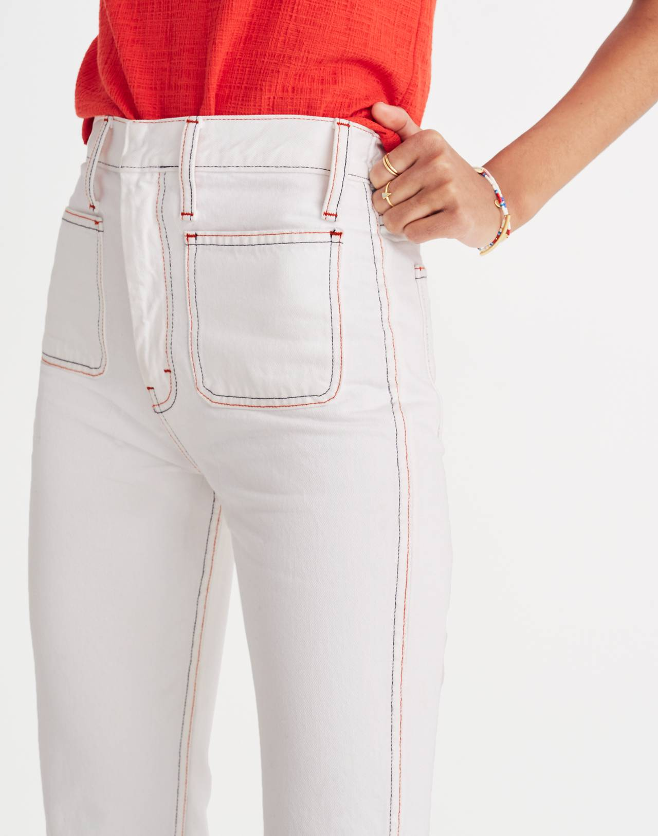 Rigid Demi Boot Crop Jeans: Red White and Blue Edition in armstrong wash image 2