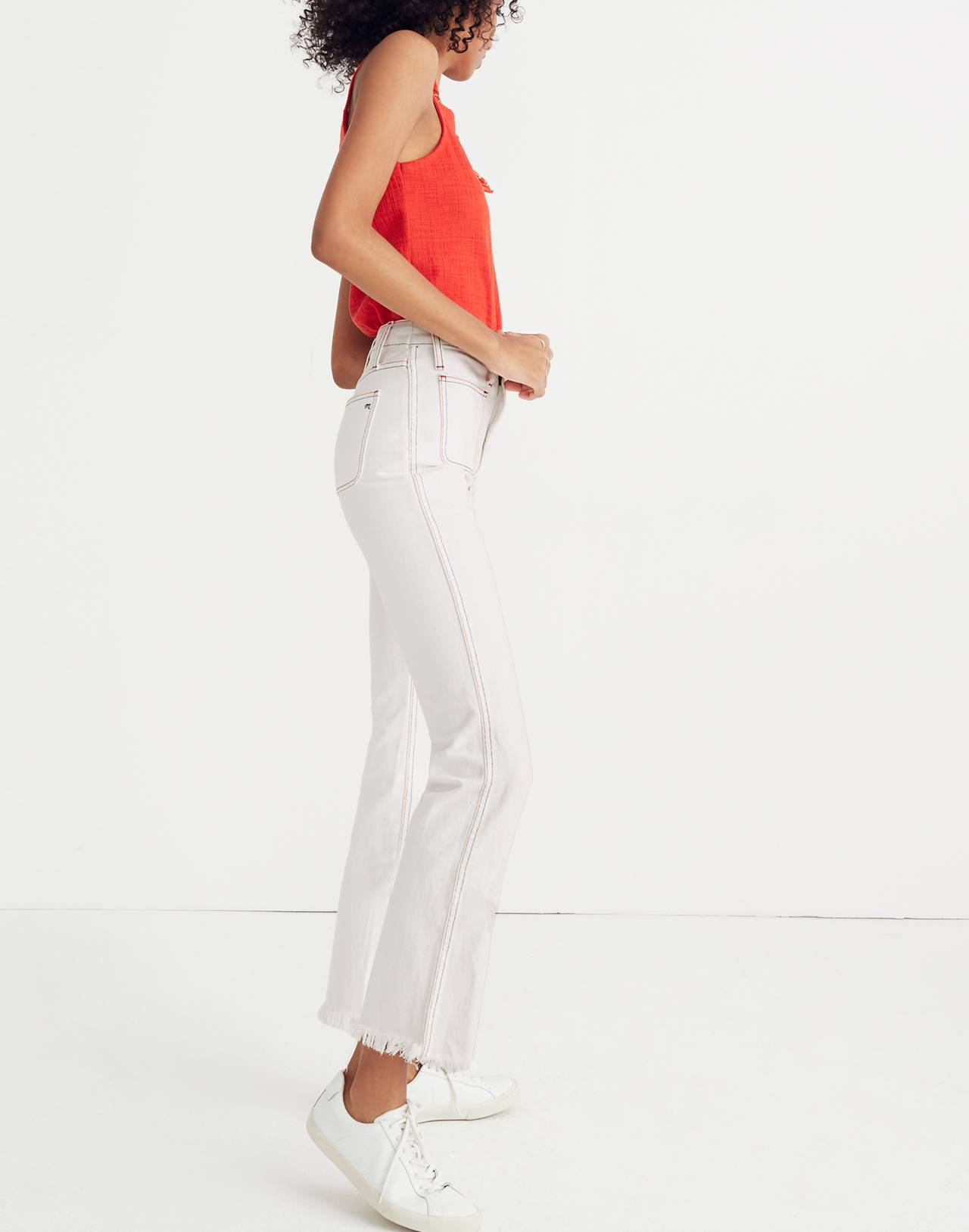 Rigid Demi Boot Crop Jeans: Red White and Blue Edition in armstrong wash image 3