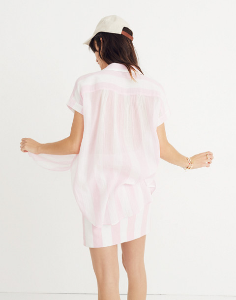 Central Tunic Shirt in Cara Stripe in petal pink image 2