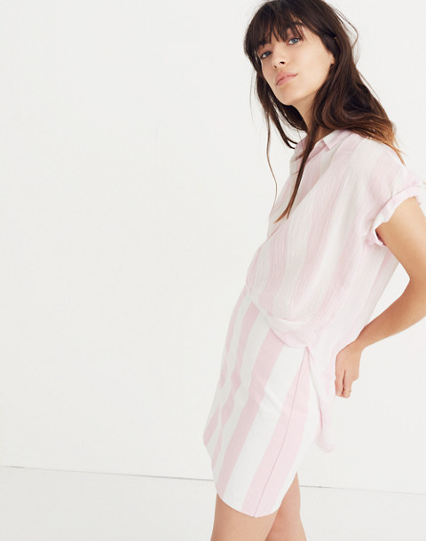 Central Tunic Shirt in Cara Stripe in petal pink image 3