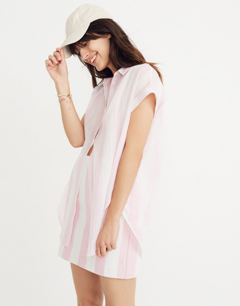 Central Tunic Shirt in Cara Stripe in petal pink image 1