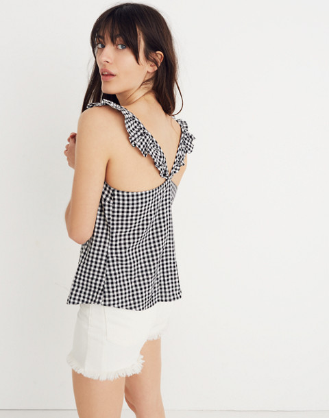 Ruffle-Strap Cami Top in Gingham Check in true black image 3