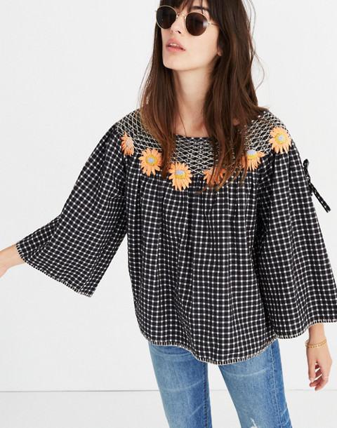 Innika Choo Daisy Embroidered Smocked Top in black image 1