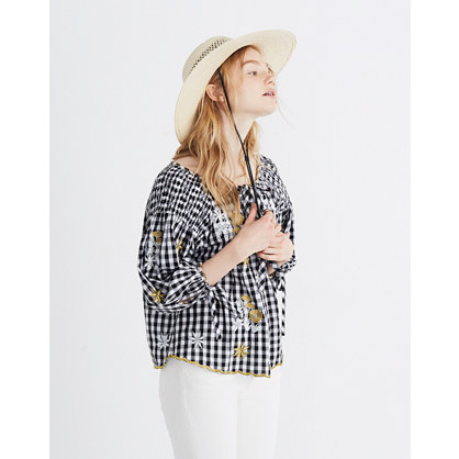 Innika Choo Smocked Gingham Top by Madewell
