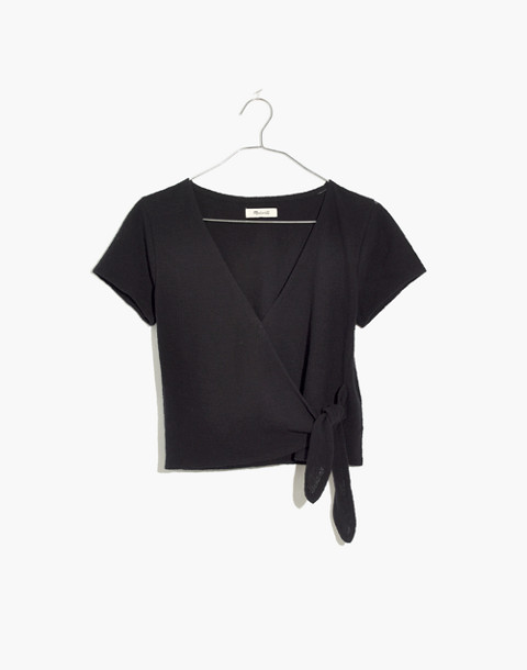 Texture & Thread Wrap-Tie Top in true black image 4