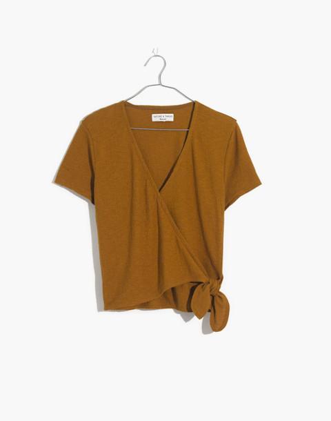 Texture & Thread Wrap-Tie Top in distant olive image 4