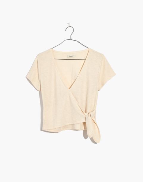 Texture & Thread Wrap-Tie Top in bleached linen image 1