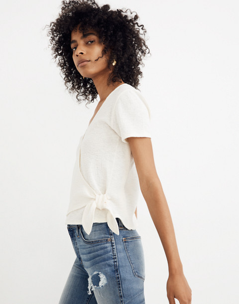 Texture & Thread Wrap-Tie Top in bright ivory image 2