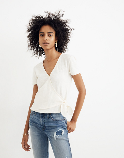 Texture & Thread Wrap-Tie Top in bright ivory image 1