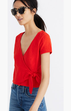 Texture & Thread Wrap-Tie Top