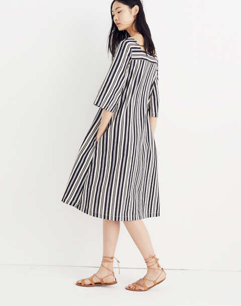 Square-Neck Midi Dress in Evelyn Stripe in stone image 2